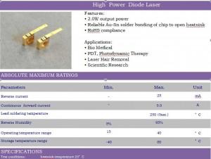 1440nm 2W Cマウント高出力レーザーダイオードIOC-1440-020-211  1